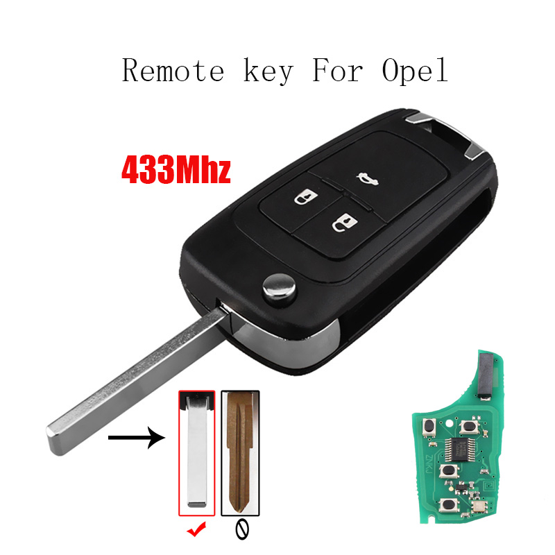 433Mhz 3Buttons Remote key For Opel Vauxhall Astra J Corsa E Insignia Zafira C 2009-2016 Transponder Chip ID46 Car key