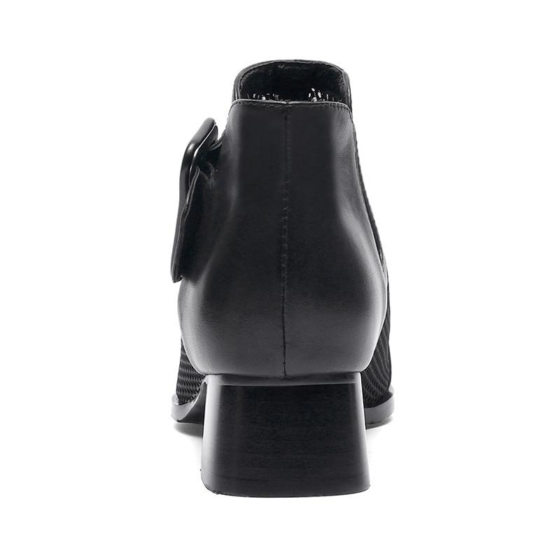 Femme Beige Chaussures Femmes D'été Carré noir Épais Taille 34 2019 Cuir Vache Lapolaka Pour En Talons 40 Nouveautés Bottes Orteil Bottines SqzUMVp