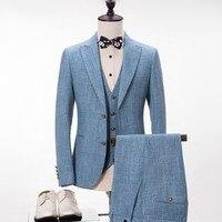 Мужские льняные костюмы для пляжа, свадьбы, лето, весна, винтажные классические мужские костюмы, смокинг под заказ, синий цвет (куртка + жилет
