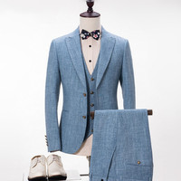 Men's Linen Suits For Beach Wedding Summer Spring Vintage Classic Men Suits Tuxedo Custom Made Blue Color (Jacket+Vest+Pants)