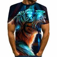 2019 nueva camiseta de tigre hombres Stranger Things Animal 3d camiseta con dibujo punk Top camisetas de manga corta ropa informal estilo hip hop ropa para hombre