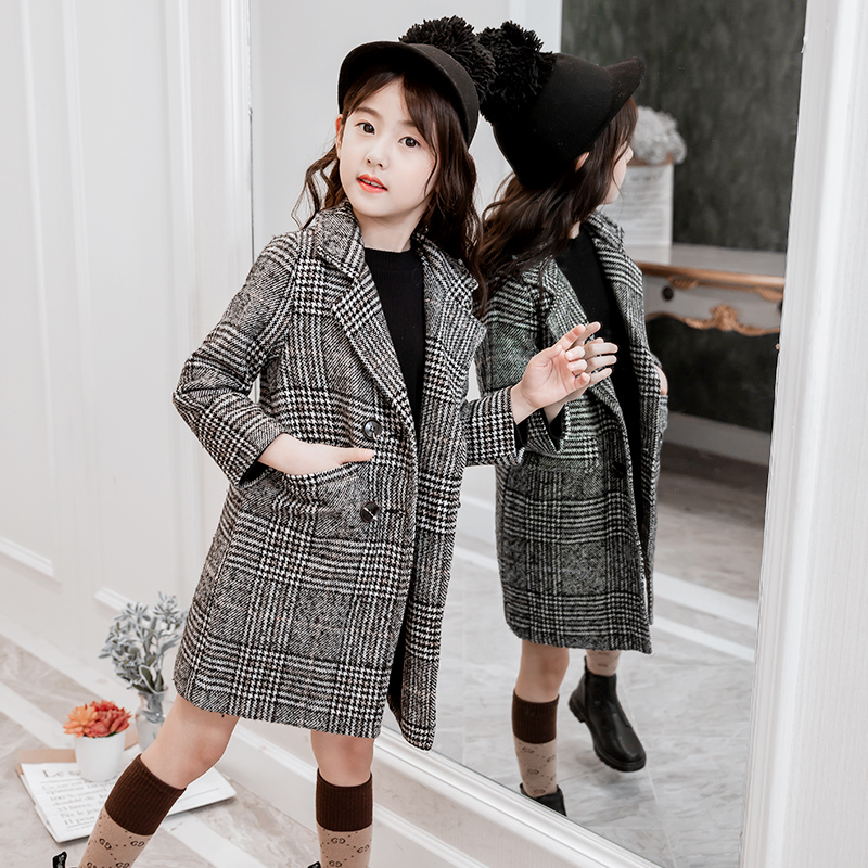 4-13 year old girl woolen coat long thickened houndstooth trench autumn and winter Fashion Classic Windbreaker Double-breasted women woolen winter trench double button coat