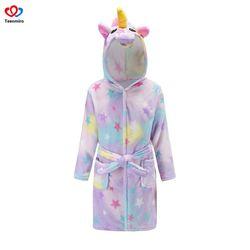 Hot Sale Beach Robe Girls Unicorn Bath Robes Boys Sleepwear Baby Girl Pajamas Children Fleece Bathrobes Hooded Towel Rainbow