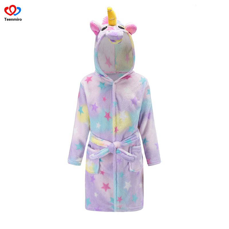 Hot Sale Beach Robe Girls Unicorn Bath Robes Boys Sleepwear Baby Girl Pajamas Children Fleece Bathrobes Hooded Towel Rainbow