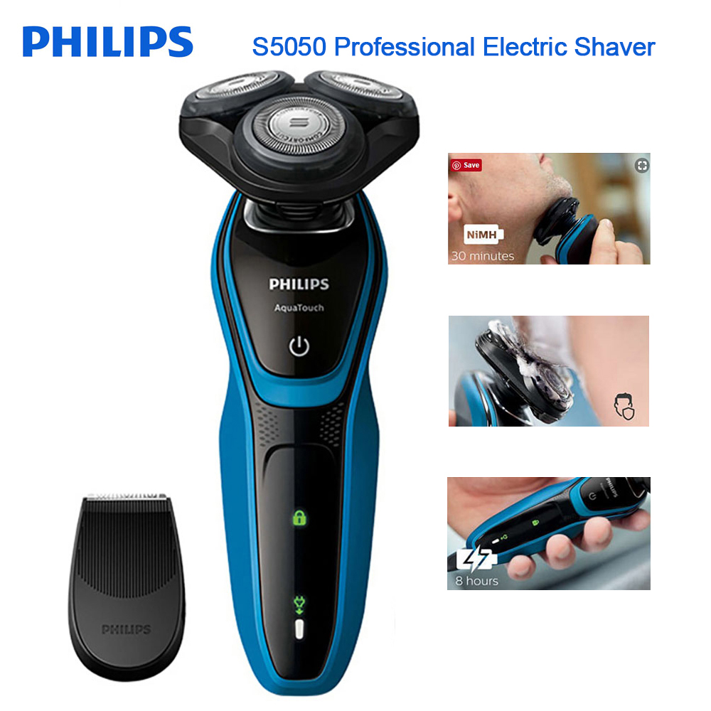 New Philips Professional Fully Washable electric shaver S5050 with AquaTec Wet & Dry with Skin Protection System Razor for Mens-in Electric Shavers from Home Appliances