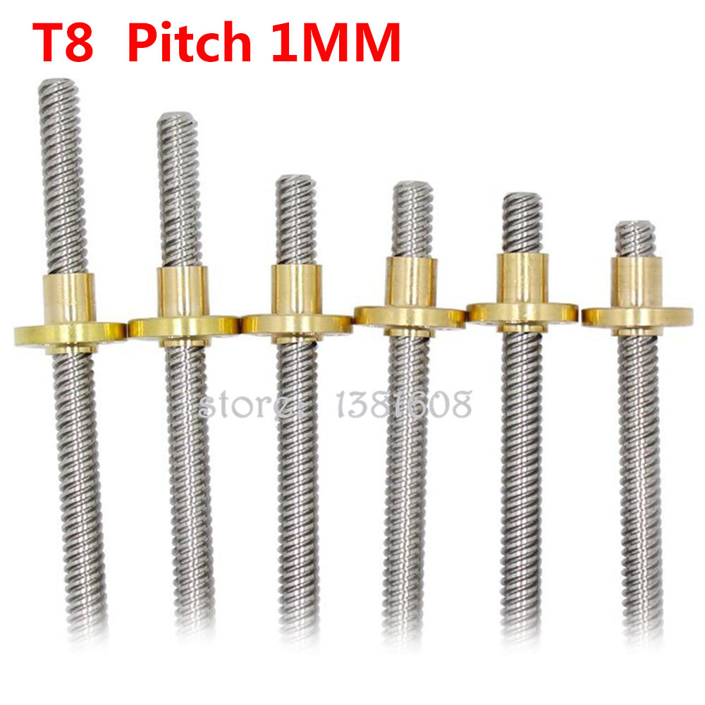 1PC 304 Stainless Steel T8 Lead Screw Dia 8mm Pitch 1MM Lead 1MM Length 100-600mm With Brass Copper Nut For 3D Printer & CNC