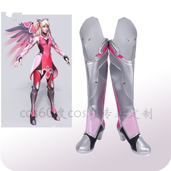 Custom Made Cosplay <font><b>Shoes</b></font> The Hot Game OW Pink Angel <font><b>DVA</b></font> High Heel Boots A image