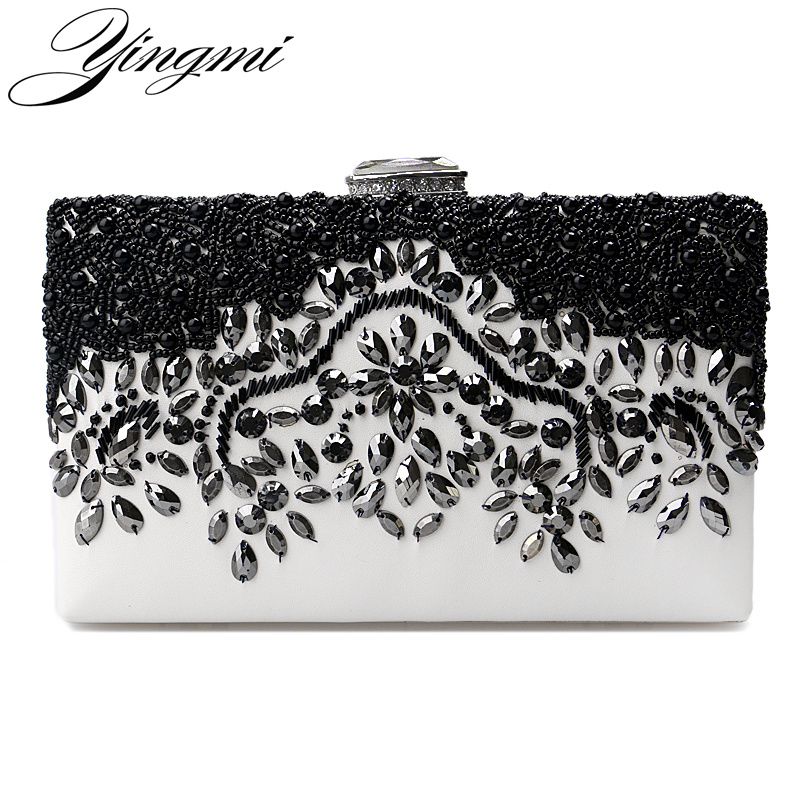 YINGMI Fashion Pu Embroidery Women Beaded Evening Bags Small Chain Shoulder Messenger Chain Long Diamonds Day Clutches 2017 hot fashion women bags 3d diamond shape shoulder chain lady girl messenger small crossbody satchel evening zipper hangbags