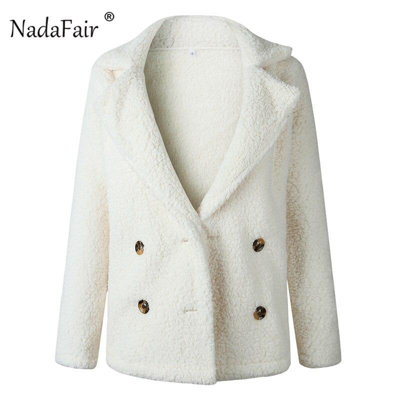 Nadafair plus size fleece faux fur jacket coat women winter pockets thicken teddy coat female plush overcoat casual outerwear 22