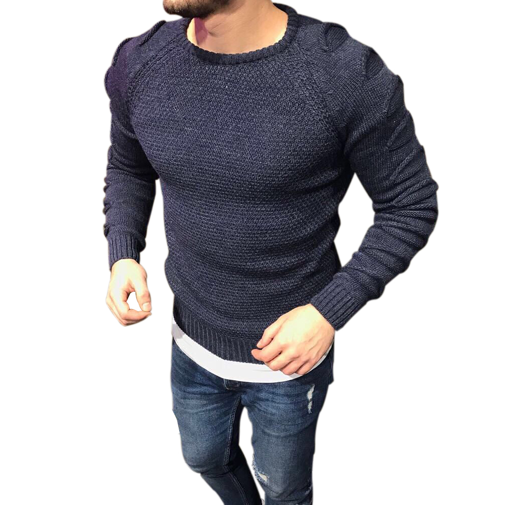 2019 Autumn Men's Pullover Casual Fitness Solid Sweater O-Neck Bodycon Long Sleeve Knitted Male Winter Jersey Hole on Shoulder