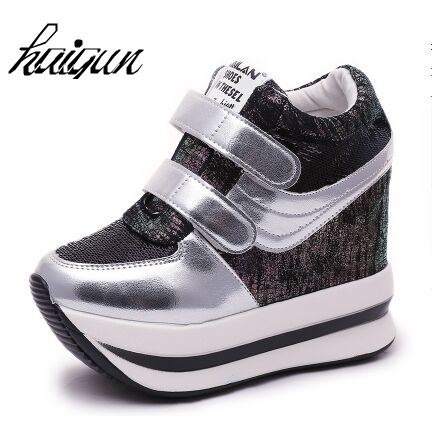 bc18092d2ef0 Hot Sales New 2018 Spring Black White Hidden Wedge Heels Casual Shoes  Women s White Elevator High