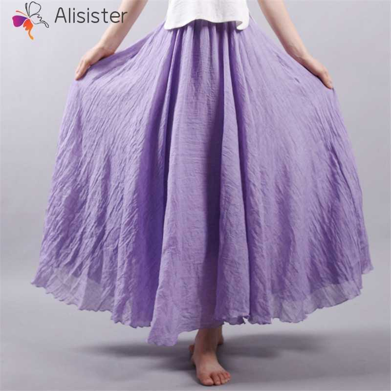 06b752bfe ... 2019 Autumn Summer Long Skirts Women Cotton Linen Solid Pleated Maxi  Skirts Elegant Boho Vintage Beach ...