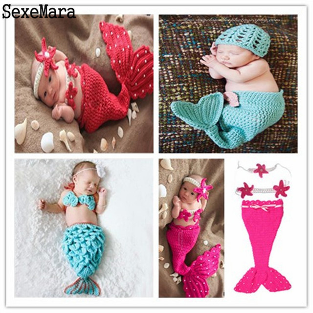 Beautiful mermaid newborn baby girl photo photography props infant handmade outfits crochet knit cocoon set knitted