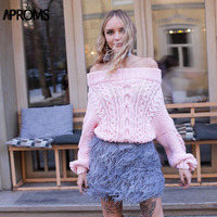 Aproms Pink Blue Off Shoulder Twist Knitting Pullover and Sweater Women Slim Fit Knit Winter Warm Knitwear Streetwear Jumper