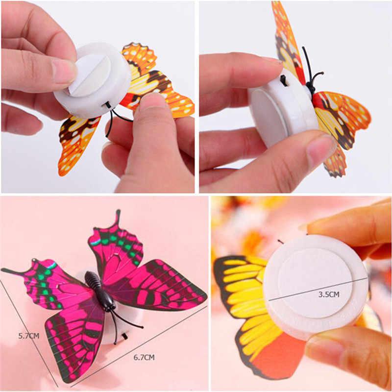 1 個ウォールステッカー蝶ledライトウォールステッカー 3D家の装飾ランダムな色高品質ウォールステッカー壁紙