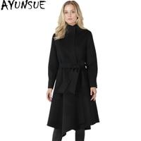 AYUNSUE 100% Wool Coats Winter Women Long Slim Wool Trench Female Autumn Jacket Turn Down Collar Jackets Belt casacos WYQ1391