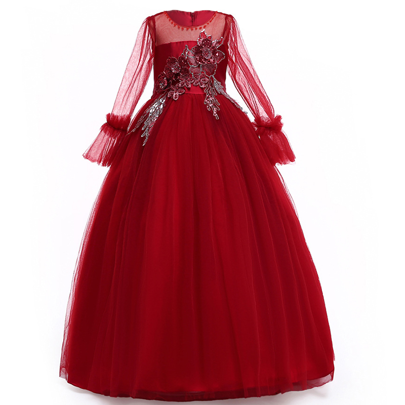 Drop Sleeve Wedding Gowns With: Dropshipping 2019 Summer Long Sleeve Teenager Kids Dresses