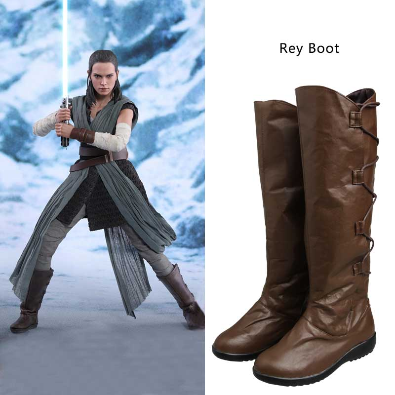 Manles Star Wars Rey Boots Cosplay Brown Leather Adult Women Shoes