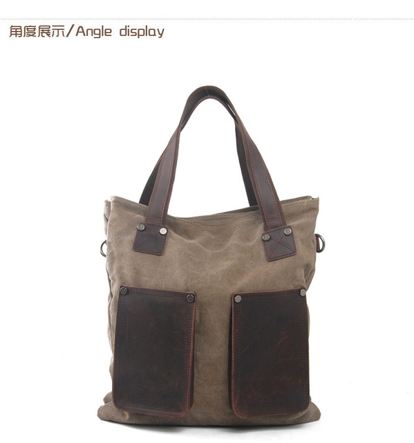 Large Capacity Handbag for Men Canvas + Crazy Horse Leather Totes Bags Travel Shoulder Bags Man Travel Hand Bag Crossbody Bag