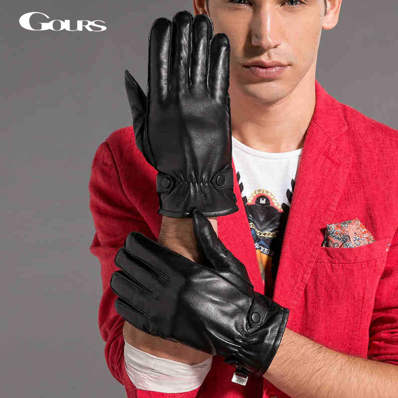 Gours Gloves 2016 Winter Fashion New Men Genuine Leather Gloves Goatskin Mittens Two Buttons Black Plus Velvet Warm GSM033