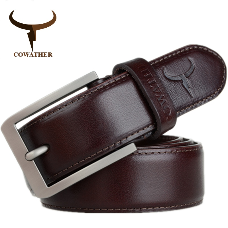 COWATHER 2019 top cow genuine leather men   belts   for men fashion jeans style pin buckle male strap luxury quality original brand