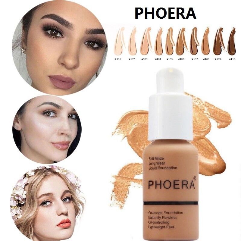 PHOERA Foundation Makeup 30ml Soft Matte Long Wear Oil Control Concealer Liquid Cream Fashion Womens maquillage