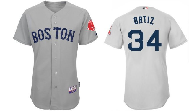 Boston Red Sox Jerseys  34 David Ortiz Grey Baseball jersey free shipping +  Paypal 327c20ff8bd