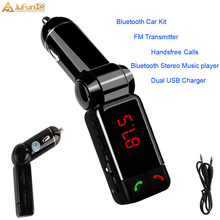 цена на Bluetooth  Car Kit FM Transmitter Handsfree MP3 Player Dual USB Charger AUX for iPhone 6 for Samsung S6
