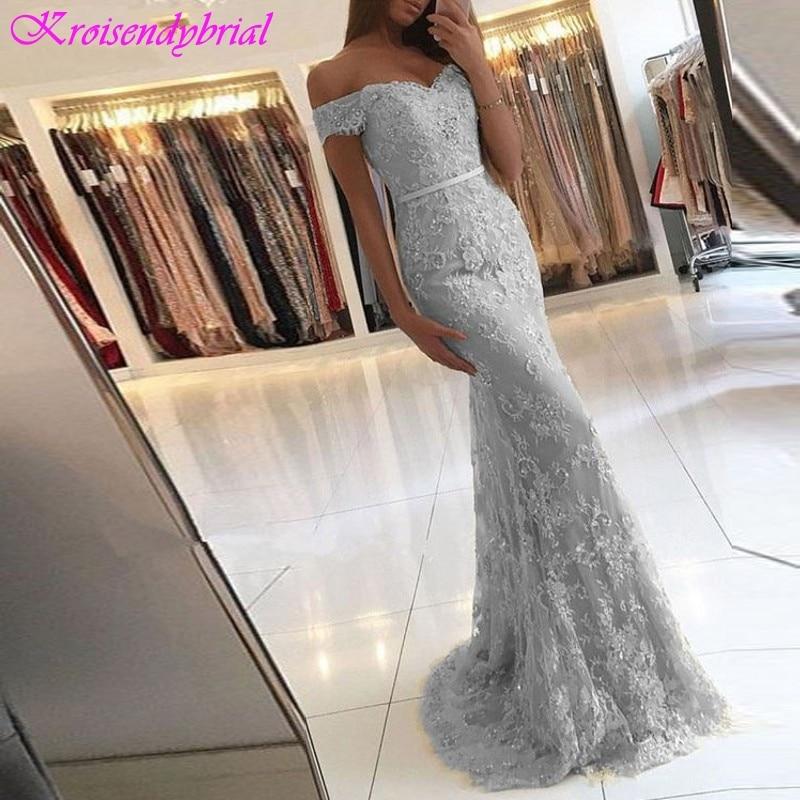 SQM046 Robe De Soiree longue Simple Short Sleeves Mermaid Sheath Evening Dresses Elegant Prom Formal Dresses