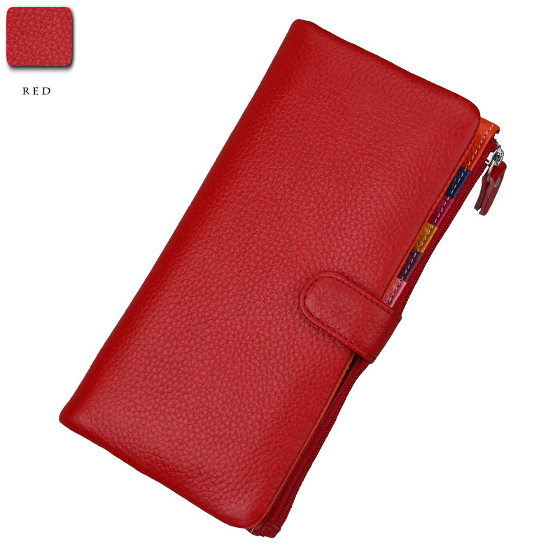 Genuine Leather Wallet Women Long Clutch Luxury Brand Women's Wallets and Purses Hasp Dollar Price Fashion Lady Money Handy Bag womens wallets and purses famous 2016 fashion money clip wallet women luxury brand matte stitching long clutch free shipping
