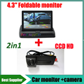 2in1 Car monitor HD + CCD HD Car rear view backup parking camera For Skoda Superb Roomster Fabia Octavia Yeti and Audi A1