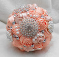 27*20*20cm Sparkling Crystals/Beads/Pearls Artificial Organza Wedding Flowers Bridal Bouquet 2015