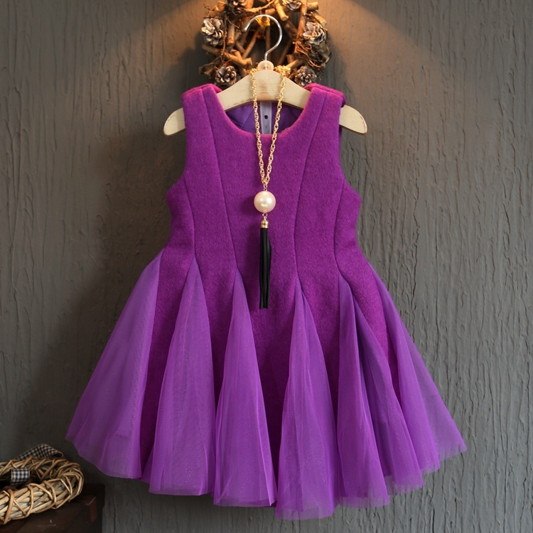 2017 nouveau automne et hiver vers le bas épaississement robe tutu robe filles princesse robe anniversaire robe filles