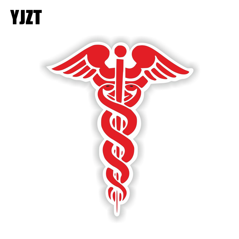 YJZT 10.4CM*12.6CM Funny Red CADUCEUS Car Sticker Motorcycle Helmet Decal 6-1924