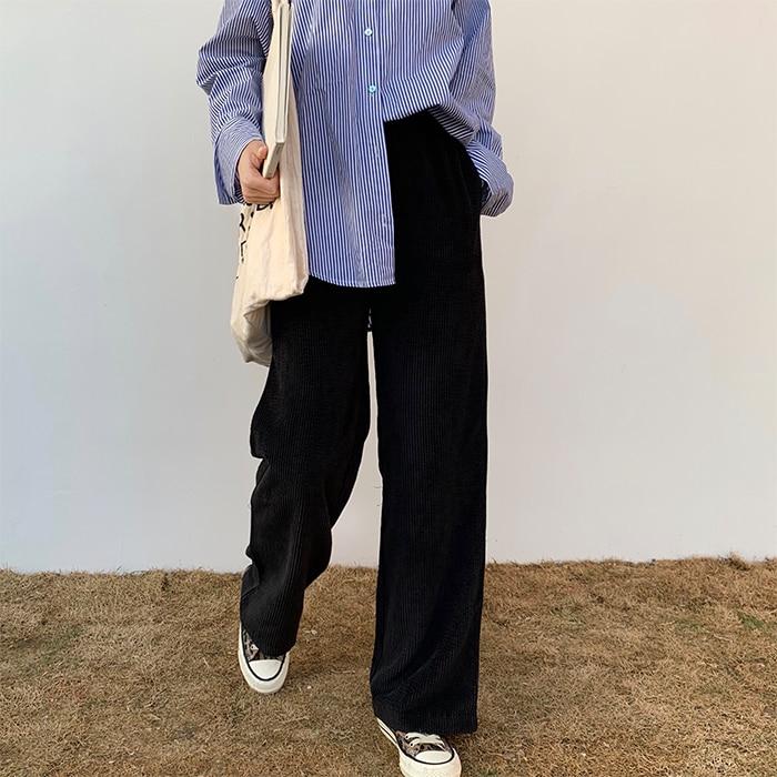 wide     leg     pants   women winter pocket drawstring high waist elegant korean fashion casual loose Corduroy Cropped Trousers