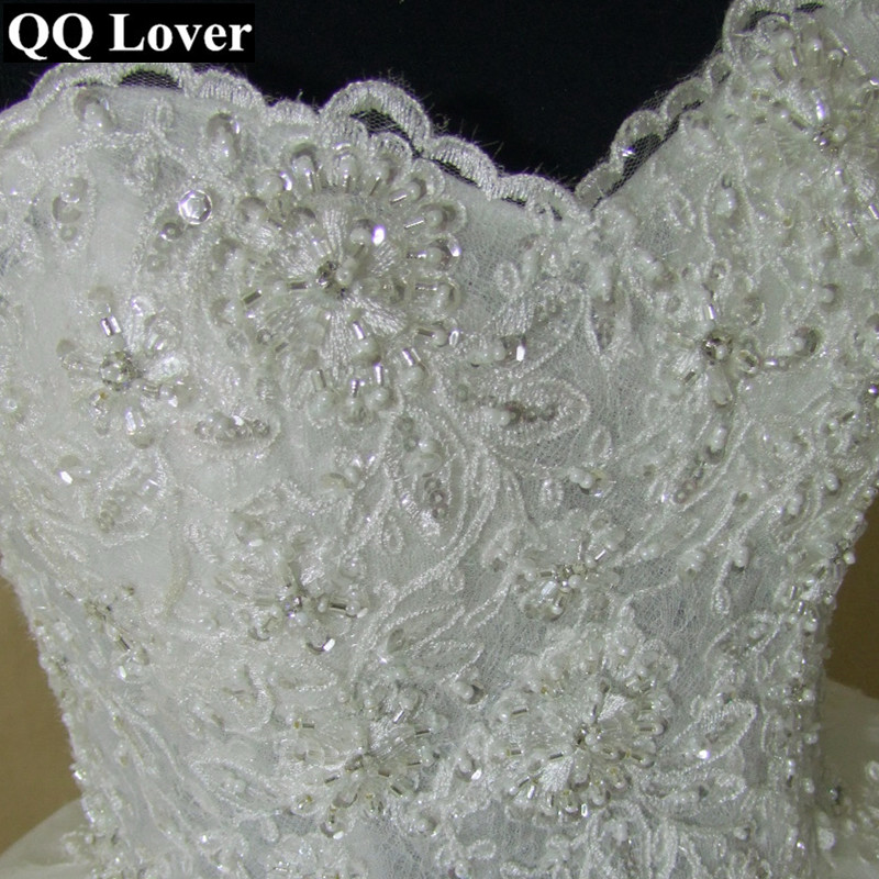 Image 5 - QQ Lover 2019 New Pearls Beaded Ball Gown Wedding Dress Luxury Bridal Gown Vestido De Noiva-in Wedding Dresses from Weddings & Events