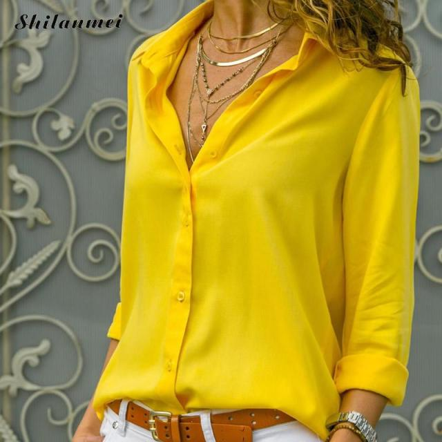 c3082974ed85f1 Casual Women Blouse And Tops Solid Lapel Collar Long Sleeve Women Solid  Shit White Yellow Black Plus Size Office Ladies Clothing