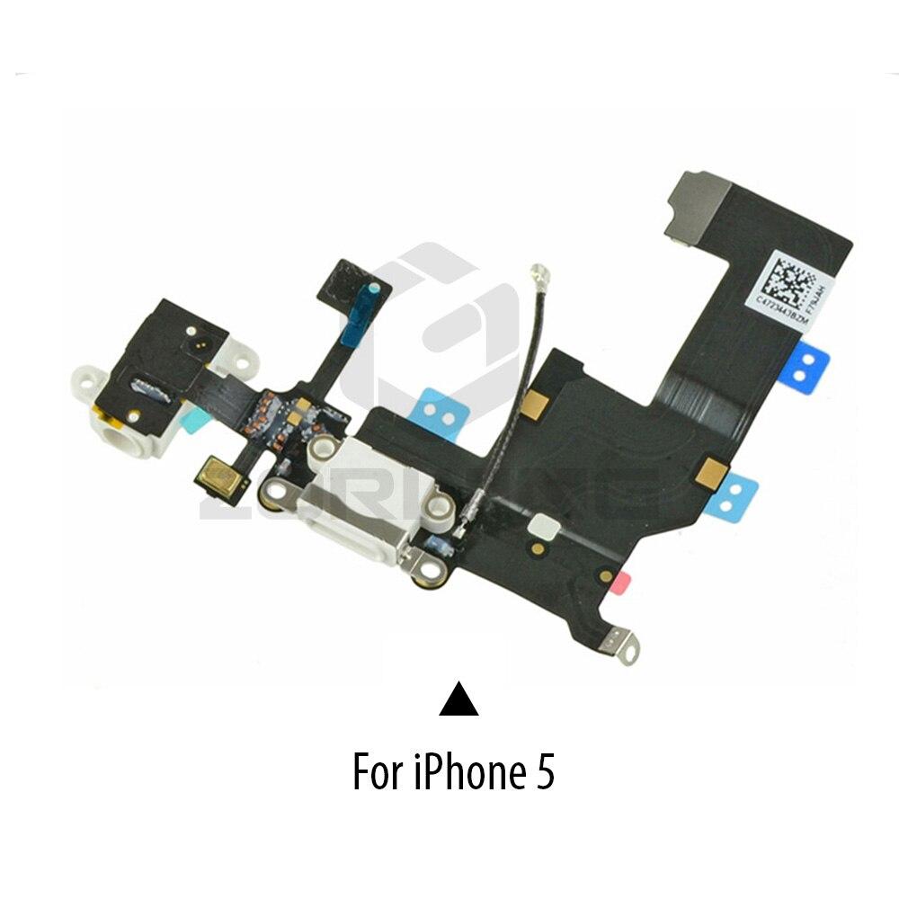 Image 2 - 1 PCS Charging Port Dock USB Connector Flex For iPhone 5 5S 6 6S 7 8 Plus Headphone Audio Jack Microphone Flex cable-in Mobile Phone Flex Cables from Cellphones & Telecommunications