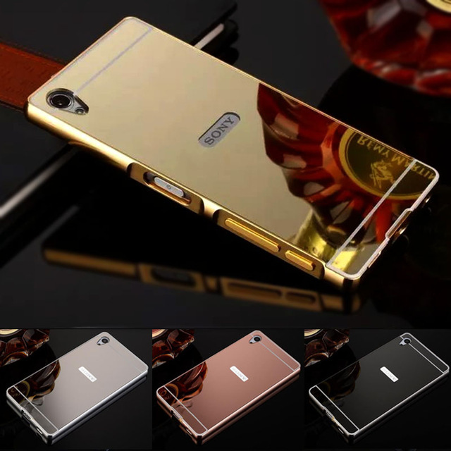 Case For Sony Xperia Z3 Compact Case Sony Xperia Z1 Compact Cases Z2 Z4 Z5 Aluminum Frame + Mirror Acrylic Back Case For M4 M5