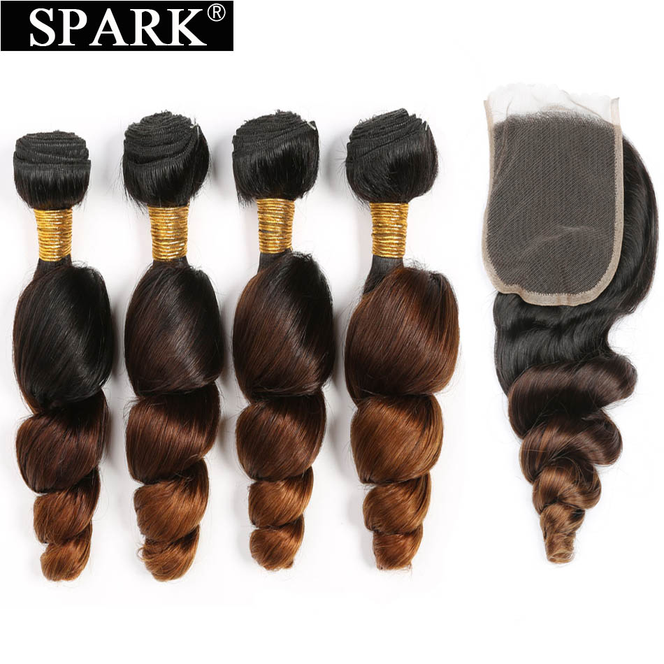 Spark Ombre Malaysian Loose Wave Human Hair 3/4 Bundles with Closure 4*4 Free Part Remy Hair Extension Free Middle Part 1B/4/30