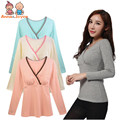 Maternity Wear Nursing Clothing Pregnant Women Long Sleeves on Sub-service Slim Cotton Feeding Tops aYFZ0045