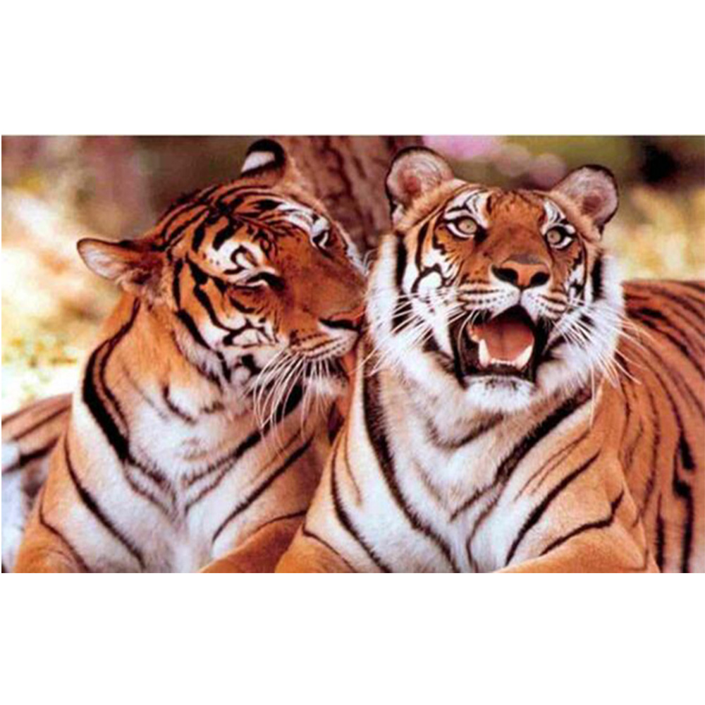 Diamante diy pittura a punto two tigers animale square in cristallo di diamond drawing set unfinish decoration pieno ricamo W376