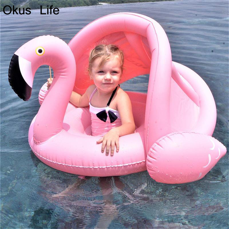 0-3 Years Old Baby Inflatable Flamingo Swan Pool Float with Sunshade Ride-On Swimming Ring Safe Seat Infant Circle Outdoor Chair0-3 Years Old Baby Inflatable Flamingo Swan Pool Float with Sunshade Ride-On Swimming Ring Safe Seat Infant Circle Outdoor Chair