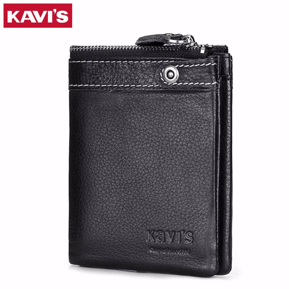 KAIVS Men Genuine Leather Wallets Coin Purse Male Purse Small Walet Portomonee PORTFOLIO Vallet Clamp for Money Bag and Fashion