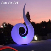 Elegant shape art inflatable swan model,nice designed swan with led bulb light and base fan on discount