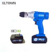 Xltown 21 v высокомощная Беспроводная многофункциональная электрическая отвертка деревообрабатывающая электрическая дрель с двумя литиевыми