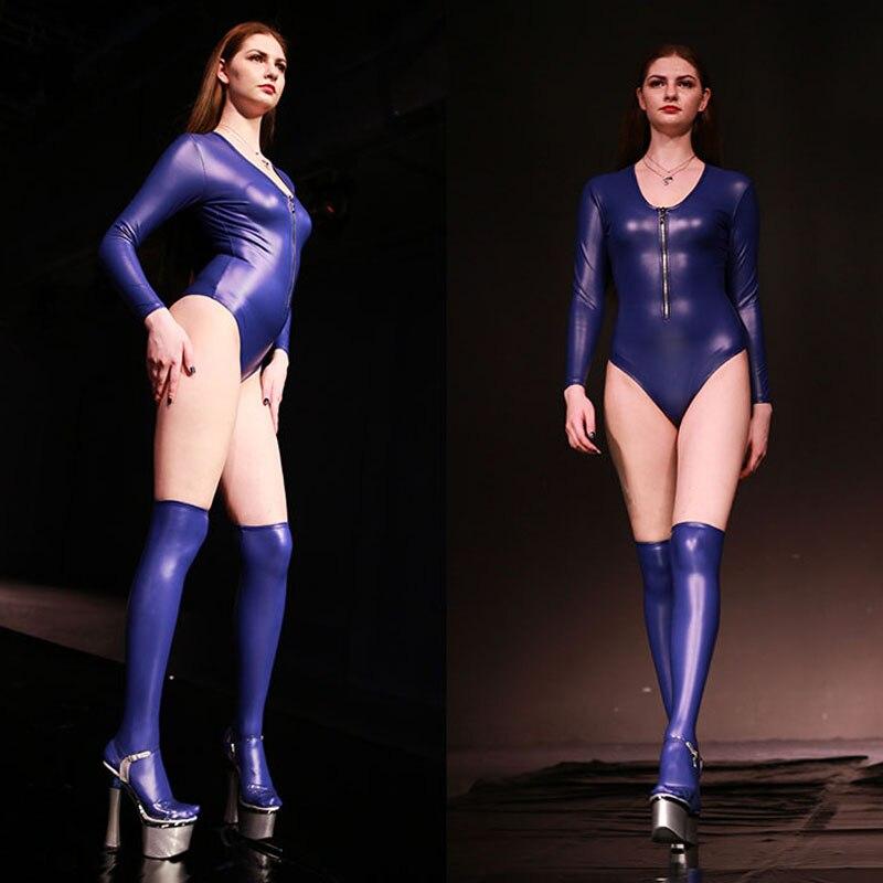 XXL Plus Size Long Sleeve Bodysuit High Cut Sexy Bodysuits Combinasion Femme Gothic Latex PU Shaping