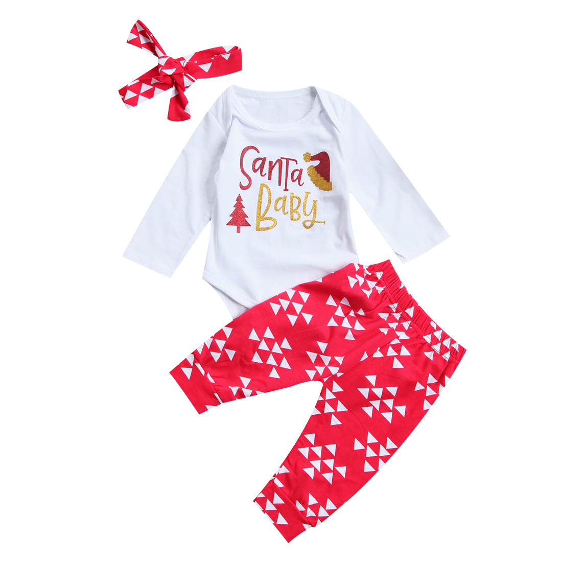 цена на Baby Girl Boy Christmas Clothes Set Long Sleeve Sweet Newborn Baby Boys Girls Tops Bodysuit Pants 3Pcs Outfits Set Clothes