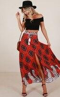 Của phụ nữ Thời Trang In Ấn Váy Eo Cao Một Dòng Màu Đỏ Dài Váy Bohemian Nút Phía Trước Boho Bọc Váy Bãi Biển Maxi váy