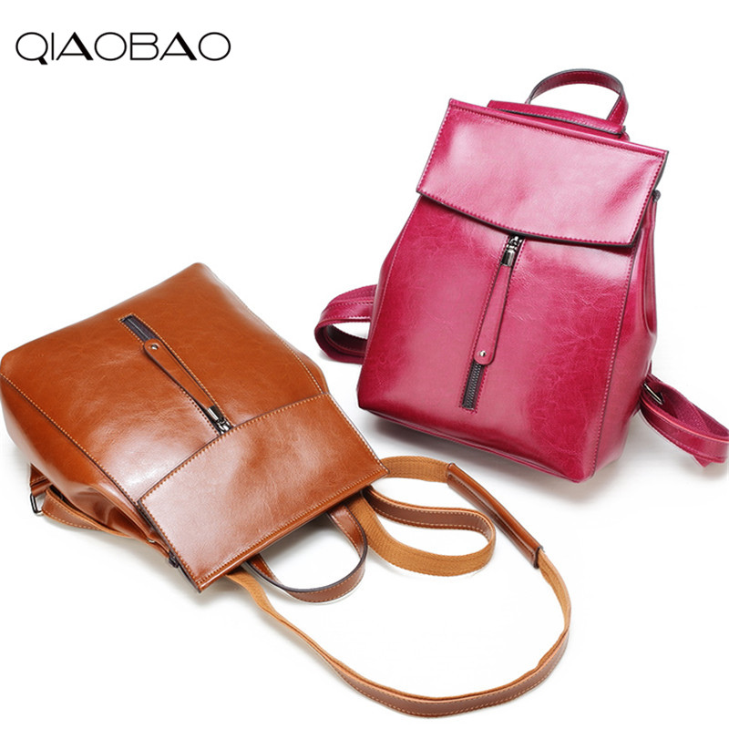 QIAOBAO 2017 Newest 100 Real leather backpack large capacity travel backpack head layer cowhide backpack shoulder